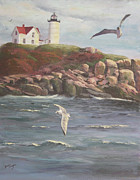 Maine Shore Painting Originals - Nubble Lighthouse by Bev Finger