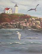 Nubble Lighthouse Print by Bev Finger