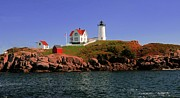 Nubble Lighthouse Prints - Nubble Lighthouse-Cape Neddick Print by Kathleen Struckle