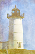 Watercolor Photo Metal Prints - Nubble Lighthouse Metal Print by Carol Leigh