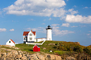 Nubble Lighthouse Metal Prints - Nubble Lighthouse Metal Print by Emmanuel Panagiotakis
