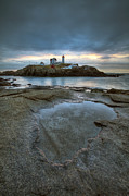 New England Winter Framed Prints - Nubble Lighthouse  Framed Print by Eric Gendron