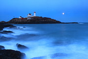 Nubble Lighthouse Photo Framed Prints - Nubble Lighthouse Full Moon Tide Framed Print by John Burk