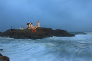 Cape Neddick Lighthouse Prints - Nubble Lighthouse High Surf and Holiday Lights Print by John Burk