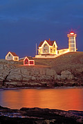 Nubble Lighthouse Framed Prints - Nubble Lighthouse-Holiday lights Framed Print by John Vose