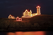 Nubble Lighthouse Framed Prints - Nubble Lighthouse-Holiday Season Framed Print by John Vose