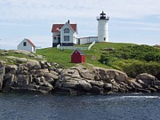 Stella Sherman Framed Prints - Nubble Lighthouse in Maine Framed Print by Stella Sherman