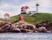 Maine Lighthouses Pastels Prints - Nubble Lighthouse in Pastel Print by Jack Skinner