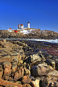 Nubble Light Framed Prints - Nubble Lighthouse Framed Print by Joann Vitali