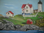 Nubble Lighthouse Pastels Metal Prints - Nubble Lighthouse Metal Print by Kathy Mota