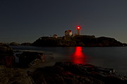 Nubble Lighthouse Framed Prints - Nubble Lighthouse Lit by the Full Moon Framed Print by John Vose