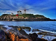 Nubble Lighthouse Digital Art Framed Prints - Nubble Lighthouse Framed Print by Mark Murphy