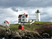 Nubble Lighthouse Posters - Nubble Lighthouse Poster by Nancy Landry