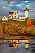 Acrylic Seascape Digital Art Posters - Nubble Lighthouse No 1 Poster by Jerry Fornarotto