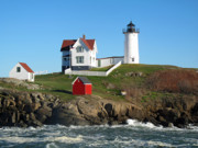 Rose Cottage Gallery Posters - Nubble Lighthouse One Poster by Barbara McDevitt