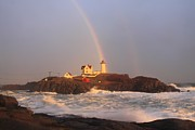 Cape Neddick Lighthouse Posters - Nubble Lighthouse Rainbow and High Surf Poster by John Burk
