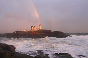 Cape Neddick Lighthouse Posters - Nubble Lighthouse Rainbow and Surf at Sunset Poster by John Burk