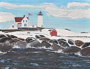 Maine Shore Painting Prints - Nubble Lighthouse Print by Sally Rice