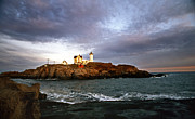 Pictures Of Lighthouses Photo Posters - Nubble Lighthouse Poster by Skip Willits