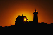 Nubble Lighthouse Framed Prints - Nubble Lighthouse Sunrise Starburst Framed Print by Scott Thorp
