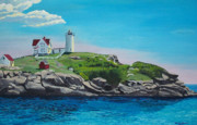 Nubble Lighthouse Posters - Nubble Lighthouse Sunrise Poster by Stella Sherman