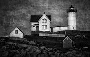 Cape Neddick Lighthouse Posters - Nubble Lighthouse Texture BW Poster by Jerry Fornarotto