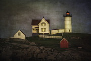Seacoast Digital Art Prints - Nubble Lighthouse Texture Print by Jerry Fornarotto