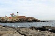 Nubble Lighthouse Framed Prints - Nubble Lighthouse Framed Print by Wayne Toutaint