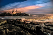 Nubble Lighthouse Winter Solstice Sunset Print by Bob Orsillo