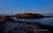 Nubble Lighthouse Posters - Nubble Lighthouse-York Maine Poster by April Bielefeldt