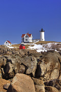 Cape Neddick Light Framed Prints - Nubbles Rocky Coastline Framed Print by Joann Vitali