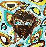 Nubian Modern  Mask Print by Joseph Sonday