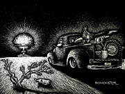 Scratchboard Drawings - Nuclear Truck by Bomonster