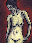 Female Nude Pastels Framed Prints - Nude 2 - 2010 Series Framed Print by Kamil Swiatek
