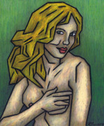 Female Nude Pastels Framed Prints - Nude 2 - 2011 Series Framed Print by Kamil Swiatek