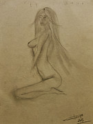 Metallica Drawings Originals - Nude 2  by Sonja Freisinger