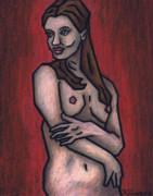 Female Nude Pastels Framed Prints - Nude 3 - 2010 Series Framed Print by Kamil Swiatek