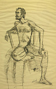 Chair Drawings Framed Prints - Nude Bearded Man Seated in Chair Framed Print by Frederick Hubicki