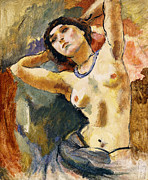 Short Hair Prints - Nude Brunette with Blue Necklace Nu La Brune au Collier Bleu Print by Jules Pascin