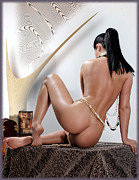 Nudes Pyrography Metal Prints - Nude By Ej Metal Print by Emil Jianu