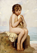 Beach Bird Paintings - Nude Child with Dove by Leon Bazile Perrault