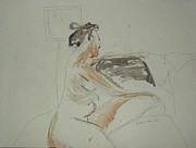 Artistic Nude Framed Prints Framed Prints - Nude Contemplating Framed Print by Esther Newman-Cohen