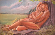 Nude Couple Pastels - Nude couple under the old cottonwood tree by John Nelson