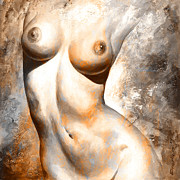 Nude Details - Digital Color Version Rust Print by Emerico Imre Toth