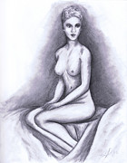 Nude Drawings Drawings Prints - Nude Drawing 02 Print by Kamil Swiatek