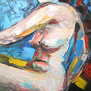 Impasto Oil Paintings - Nude female figure by Solomoon Art Studio