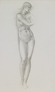 Woman Standing Framed Prints - Nude female figure study for Venus from the Pygmalion Series Framed Print by Sir Edward Coley Burne-Jones