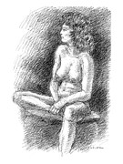Reclining Female Nude Drawings Posters - Nude Female Sketches 2 Poster by Gordon Punt