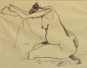 Vangogh Originals - Nude Female Sorrow after Van Gogh  by Frederick Hubicki