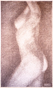 Reclining Female Nude Drawings Posters - Nude Female Torso Drawings 3 Poster by Gordon Punt
